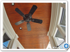 Stained ceiling and fan